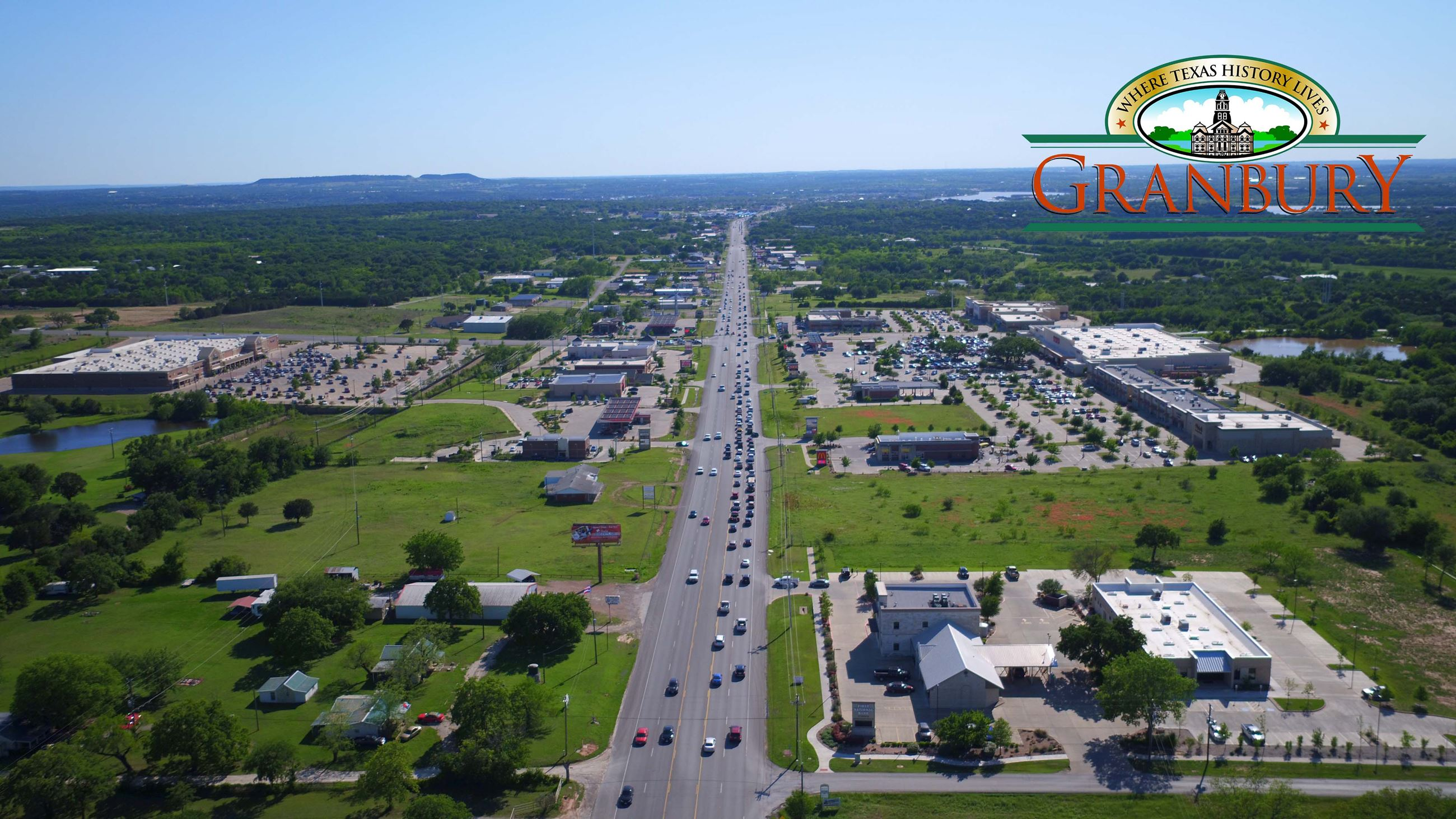 Aerial view of US 377 in Granbury.