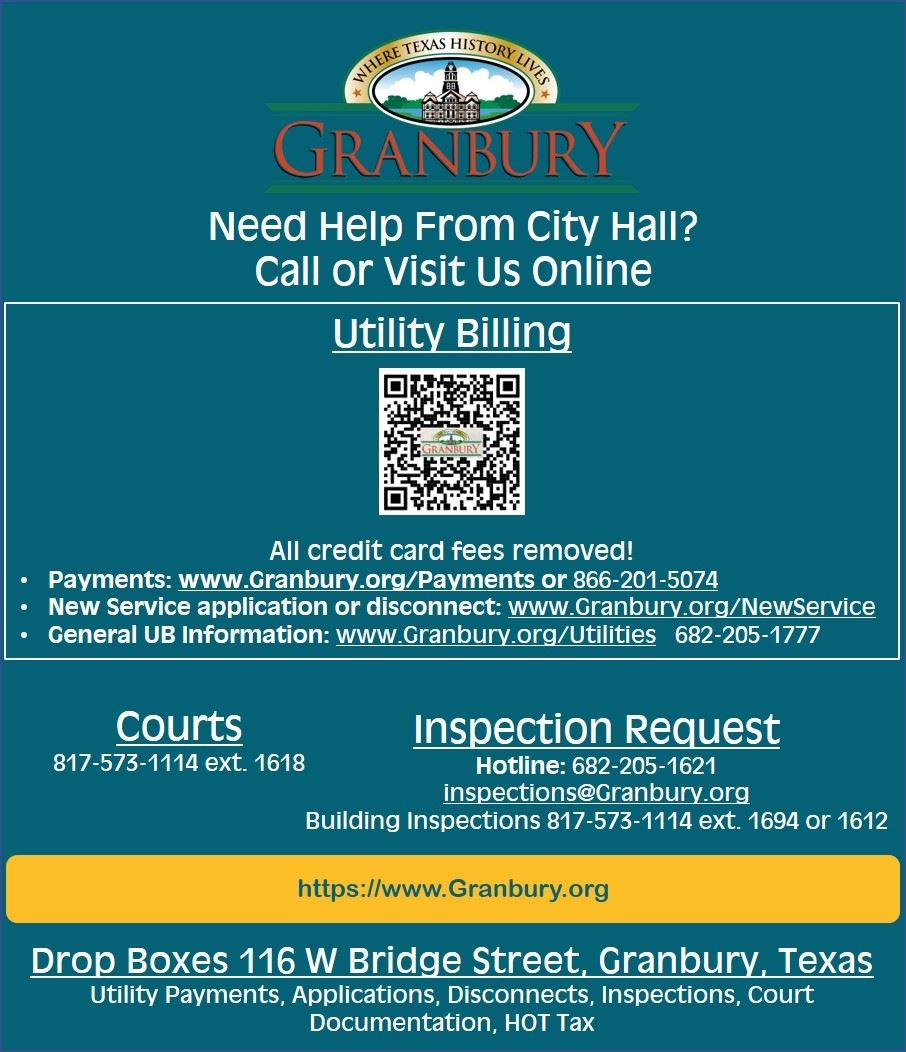 Your Virtual City Hall graphic with links and phone numbers