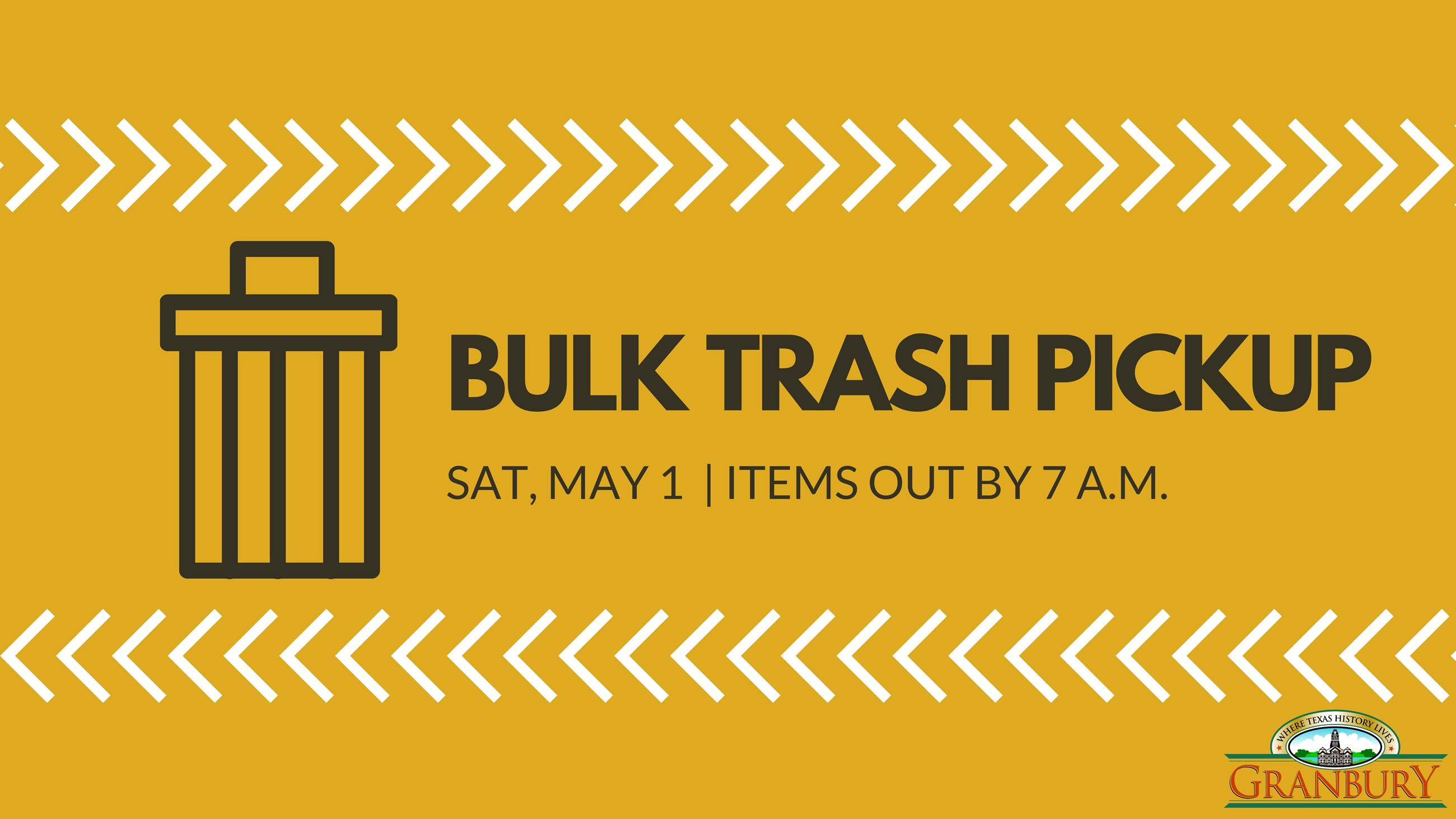 Bulk trash pickup is Saturday, April 11. Items out by 7 a.m. (1)