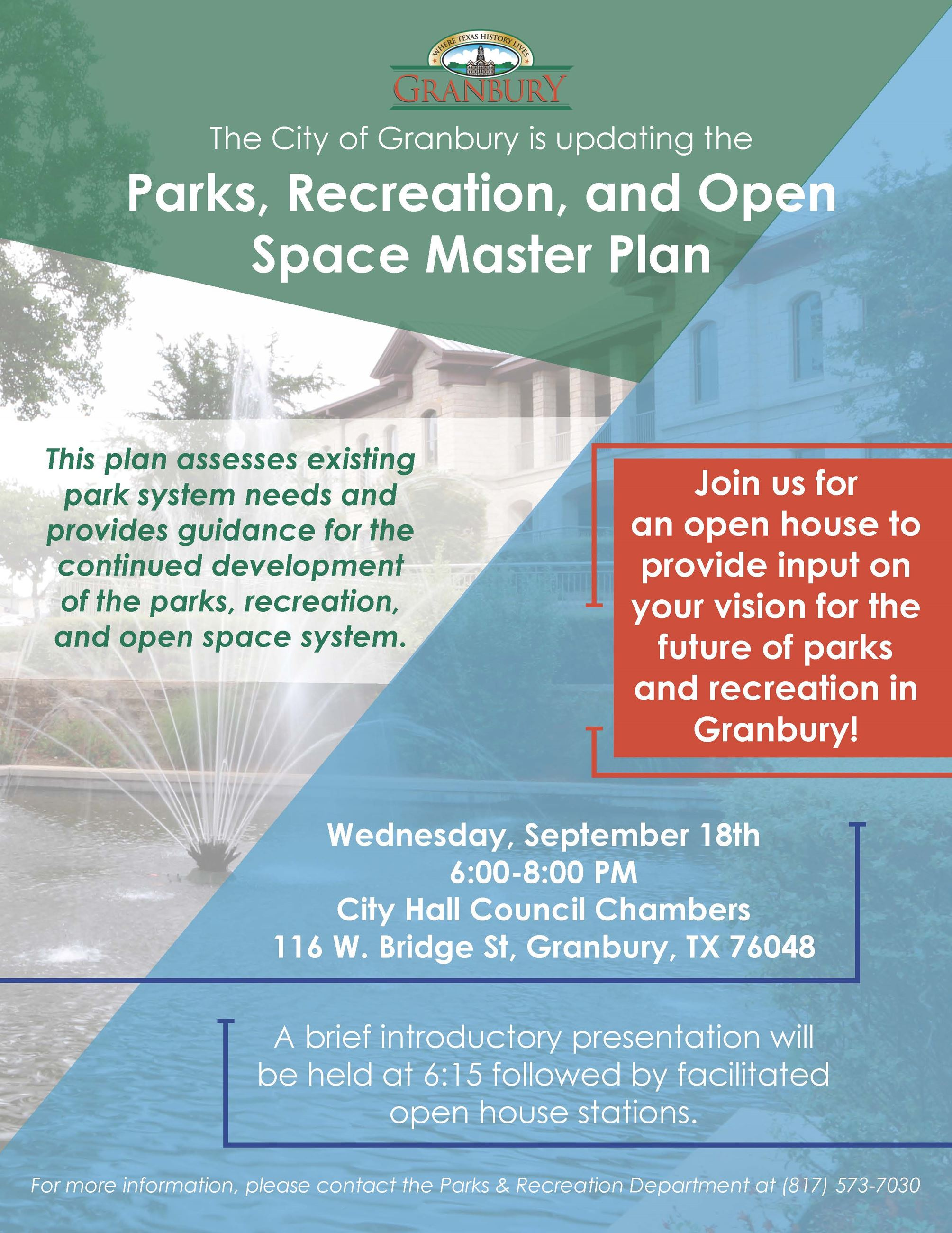 Public Meeting Flyer - Parks Plan