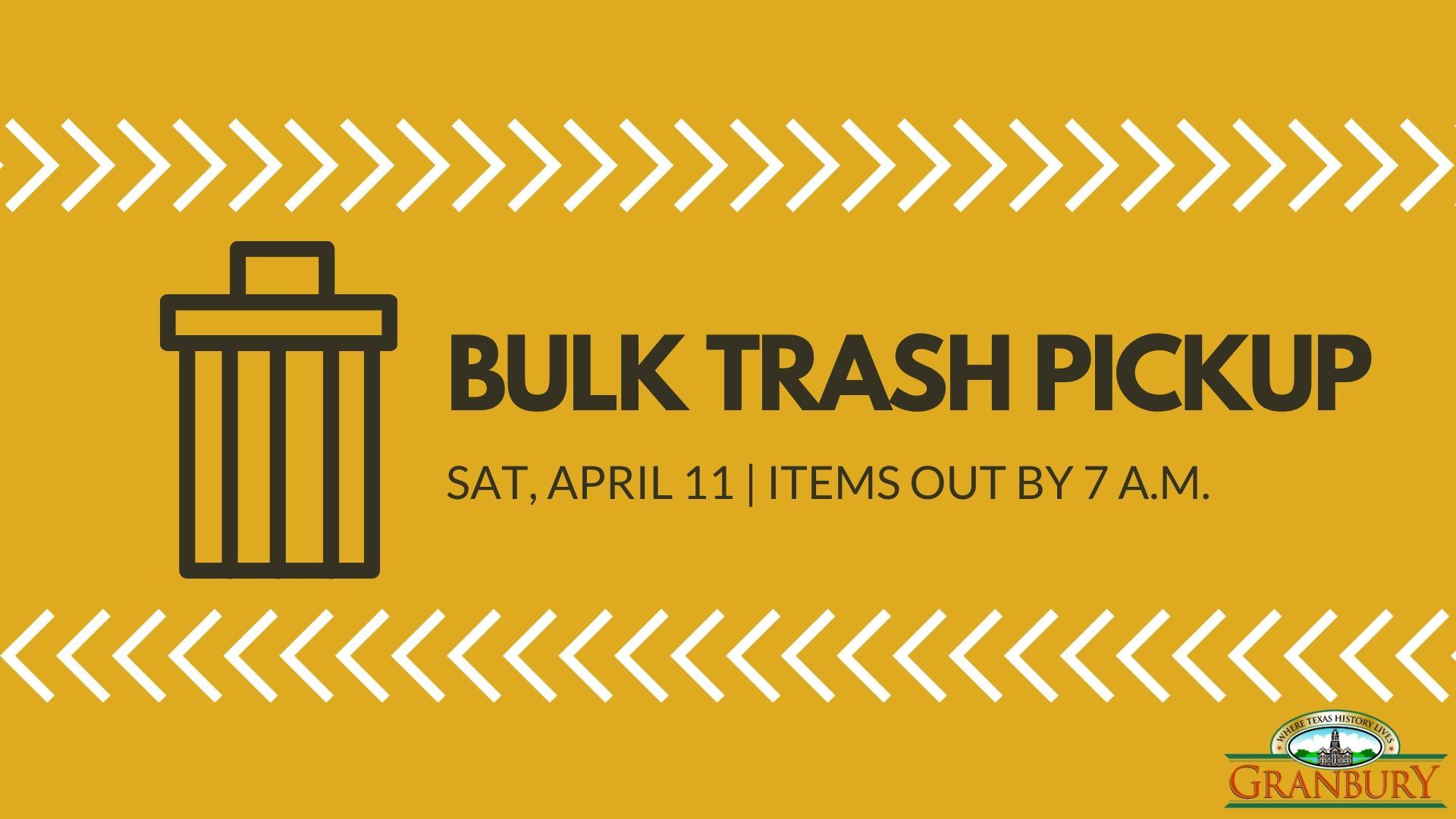 Bulk trash pickup is Saturday, Aprill 11. Iteams out by 7am.