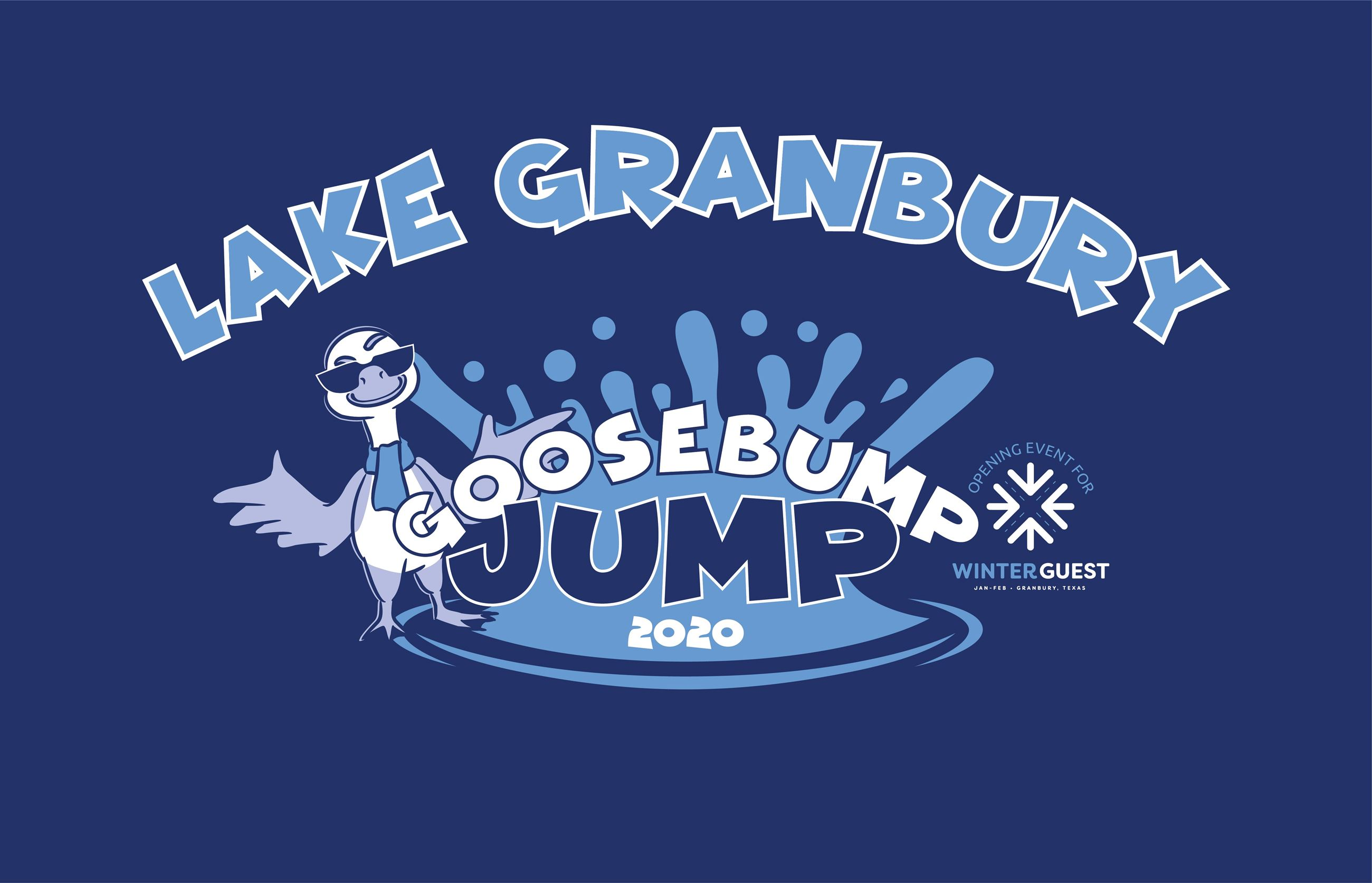Goosebump Jump logo with winter guest blue